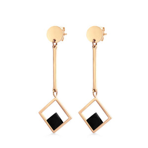 MNC-ER906-C Steel with RG & Black Dangling Earrings