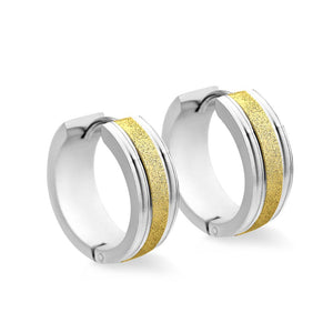 MNC-ER944-A1 Stainless Steel & Gold Thick Hoop Earrings
