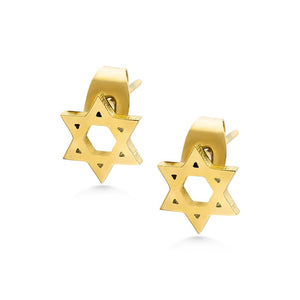 MNC-ER950-B Steel & Gold Star Stud Earrings