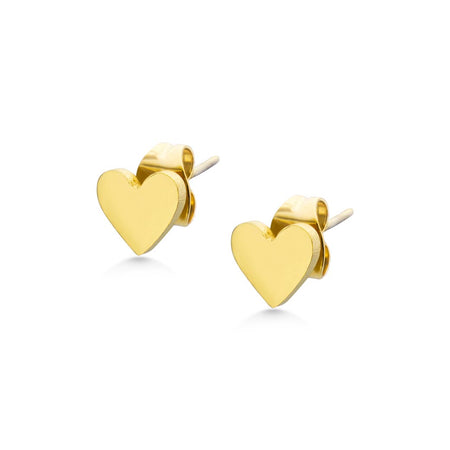 MNC-ER962-B Steel & Gold Heart Stud Earrings