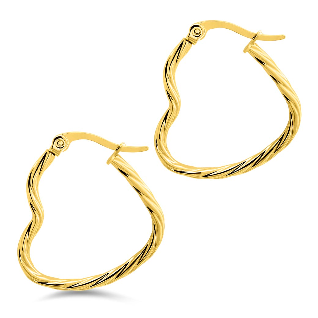 MNC-ER965-B-20mm Steel & Gold Heart Shaped Hoop Earrings