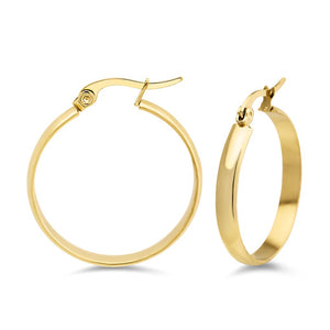 MNC-ER971-B Steel & Gold Hoop Earrings