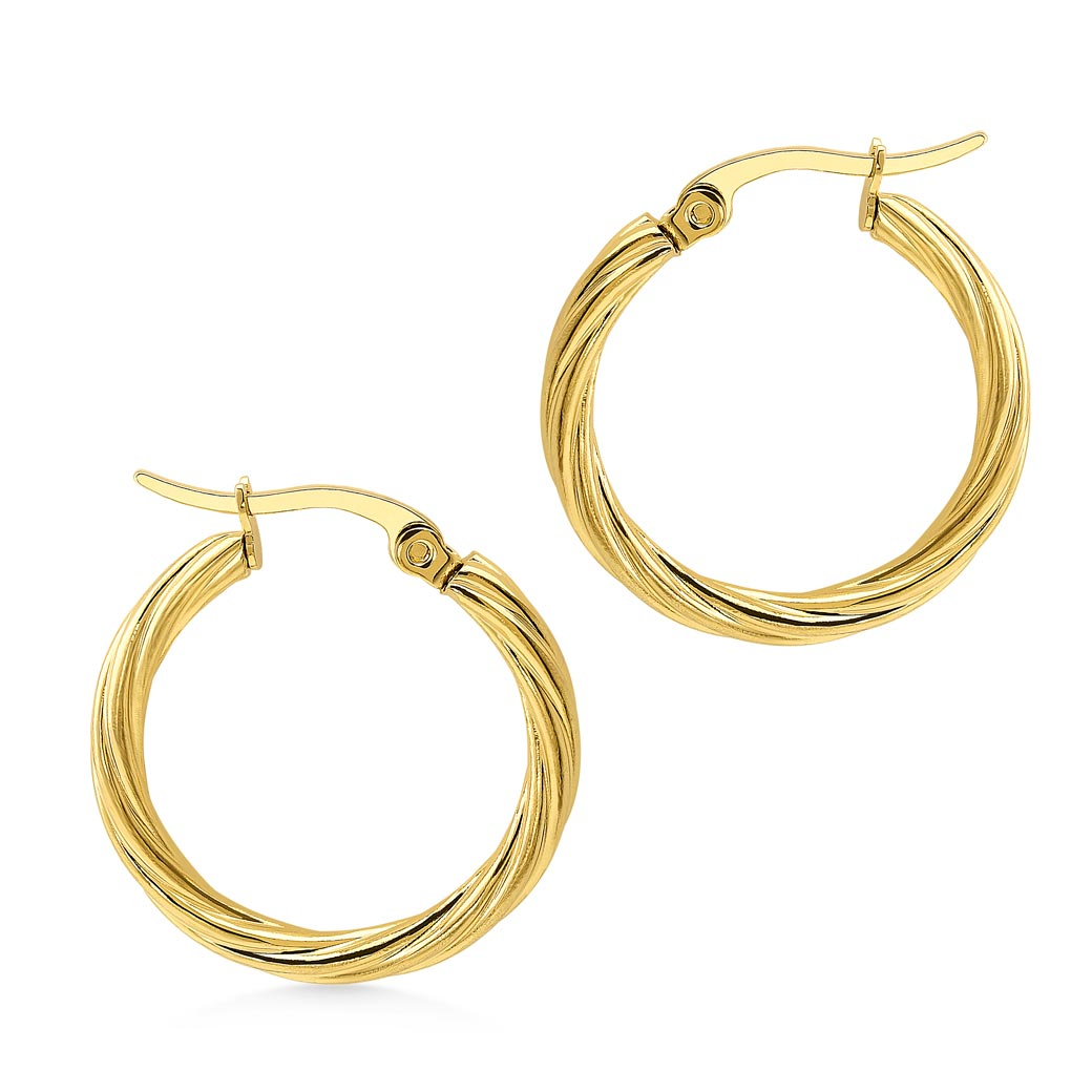 MNC-ER979-B Stainless Steel & Gold Hoop Earrings