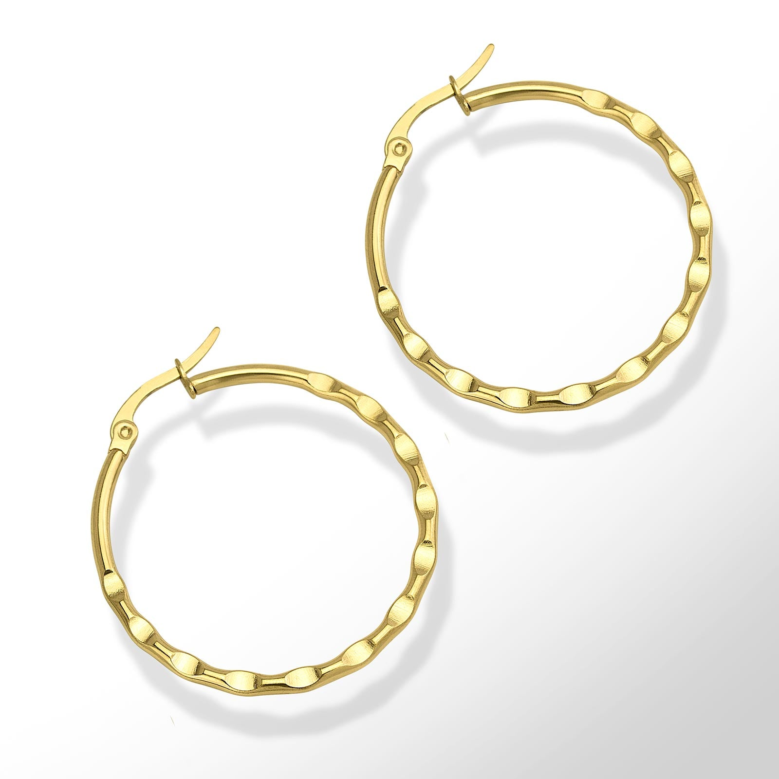 MNC-ER987-B Steel & Gold Indented Hoop Earrings