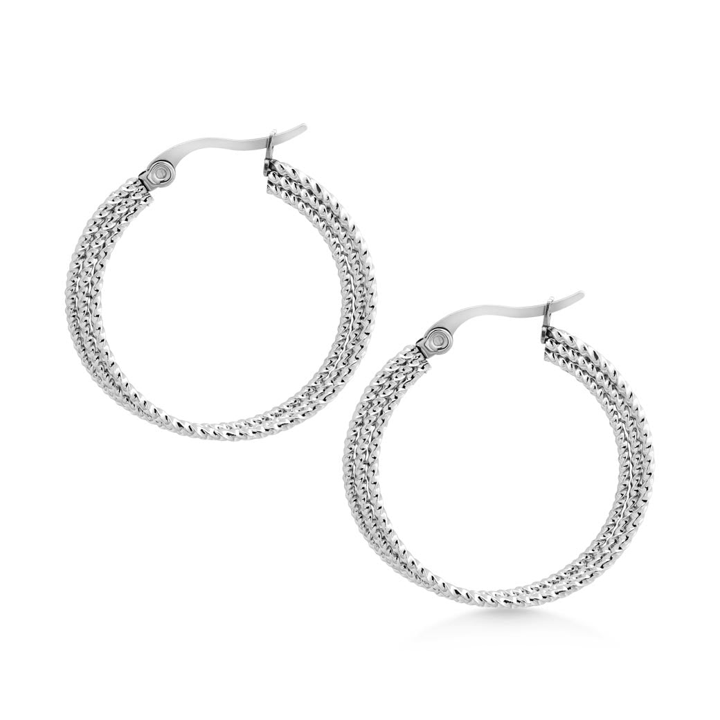 MNC-ER991-A Steel Triple Circle Hoop Earrings