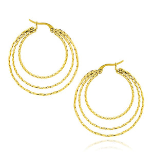 MNC-ER992-B Steel & Gold Triple Hoop Earring