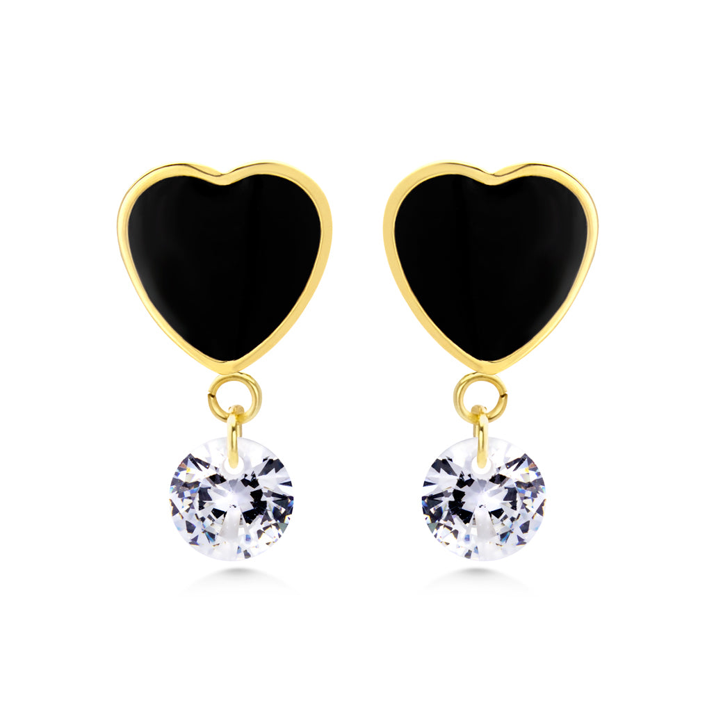 MNC-ER999-B Steel & Gold Dangling Heart Earrings