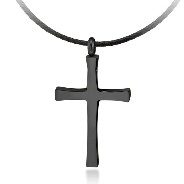 MNC-N226-D Stainless Steel Black Cross Pendant Necklace