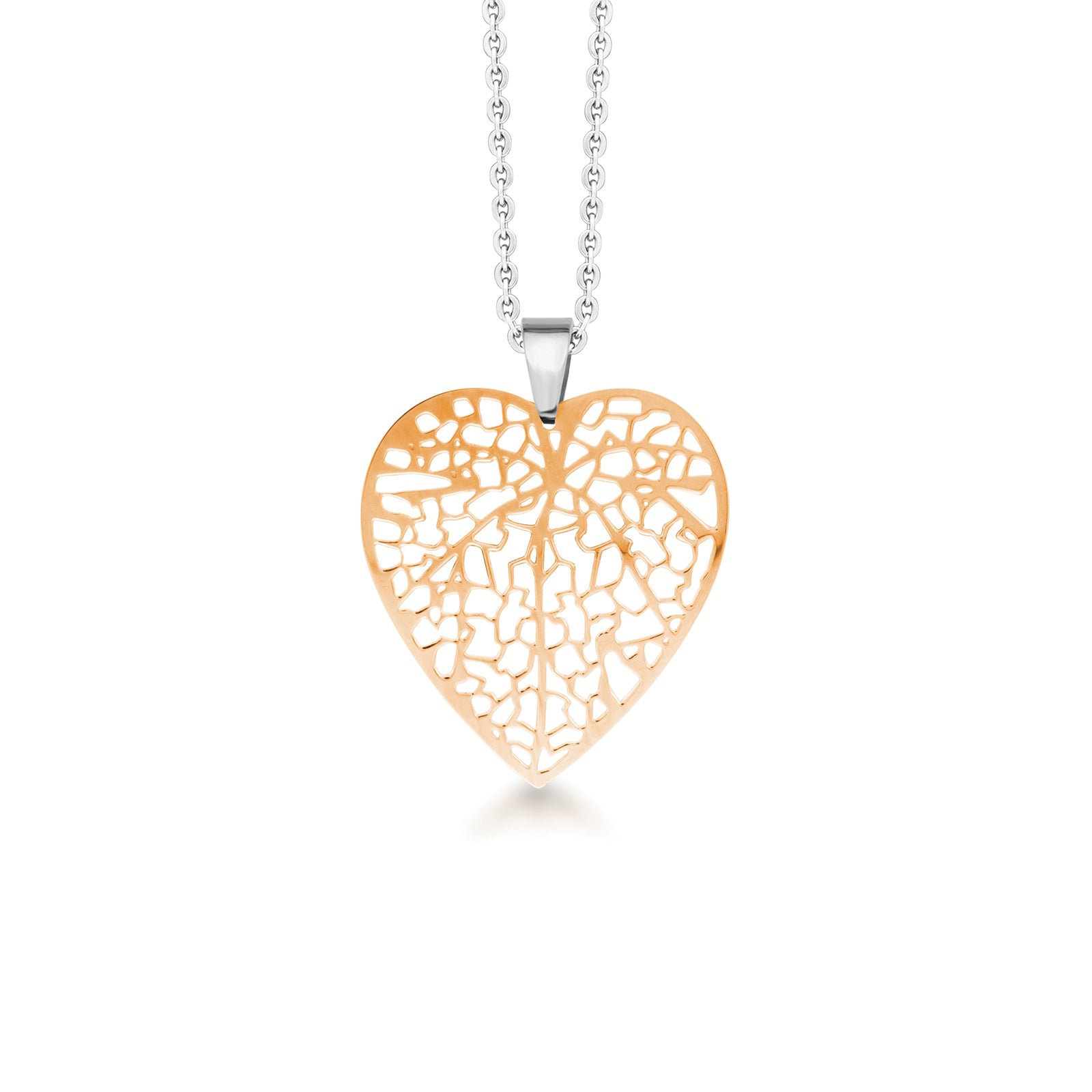 MNC-P033-B Steel & Rose Gold Heart Pendant Necklace