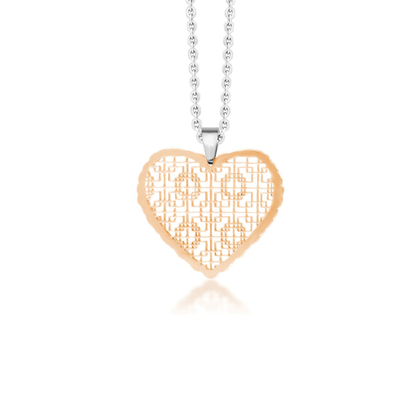 MNC-P035-B Steel & RG Heart Pendant Necklace