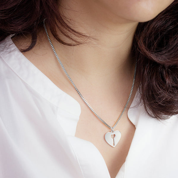 MNC-P909-A Stainless Steel Heart Pendant Necklace