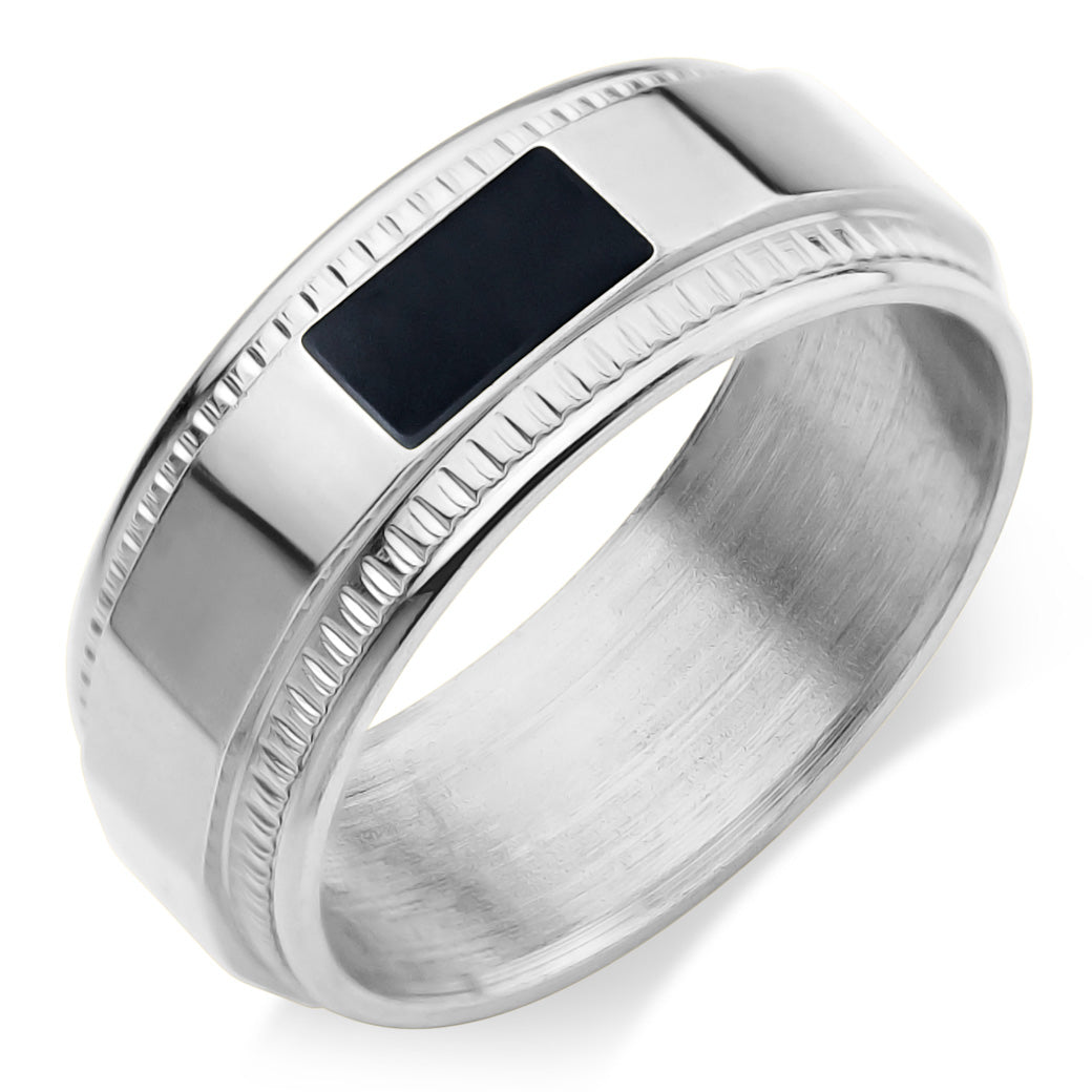 MNC-R834-A Stainless Steel & Black Ring
