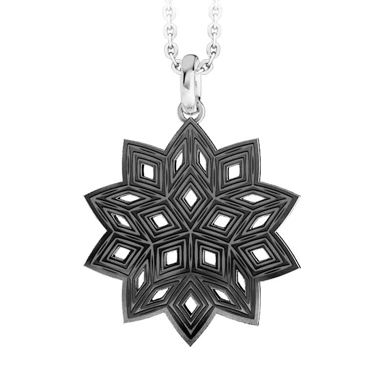 MNP-055T-A Stainless Steel Black Snowflake Pendant