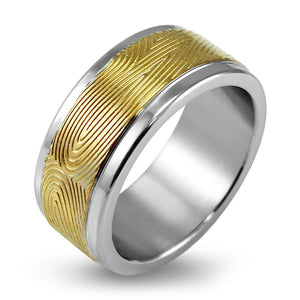 MNR-323T-B Stainless Steel & Gold Ring