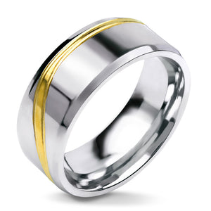 MNR-349T-B Stainless Steel Polished Ring with Gold