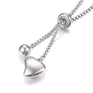 Stainless Steel Heart Lariat Necklace