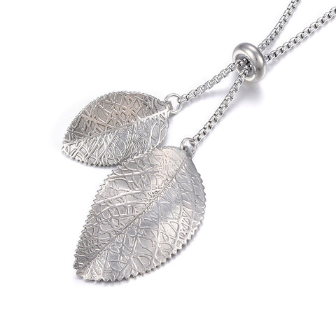 Stainless Steel Double Leaf Lariat Necklace