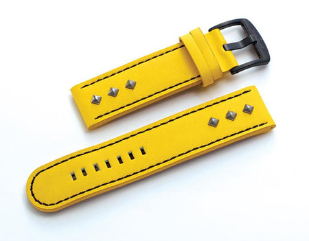 Steel Blaze Yellow Watch Strap w/Rivets-SB Design Studio