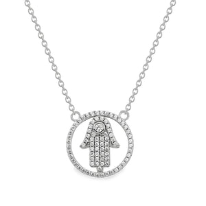 EWN140134 Sterling Silver Hamsa Pendant Necklace