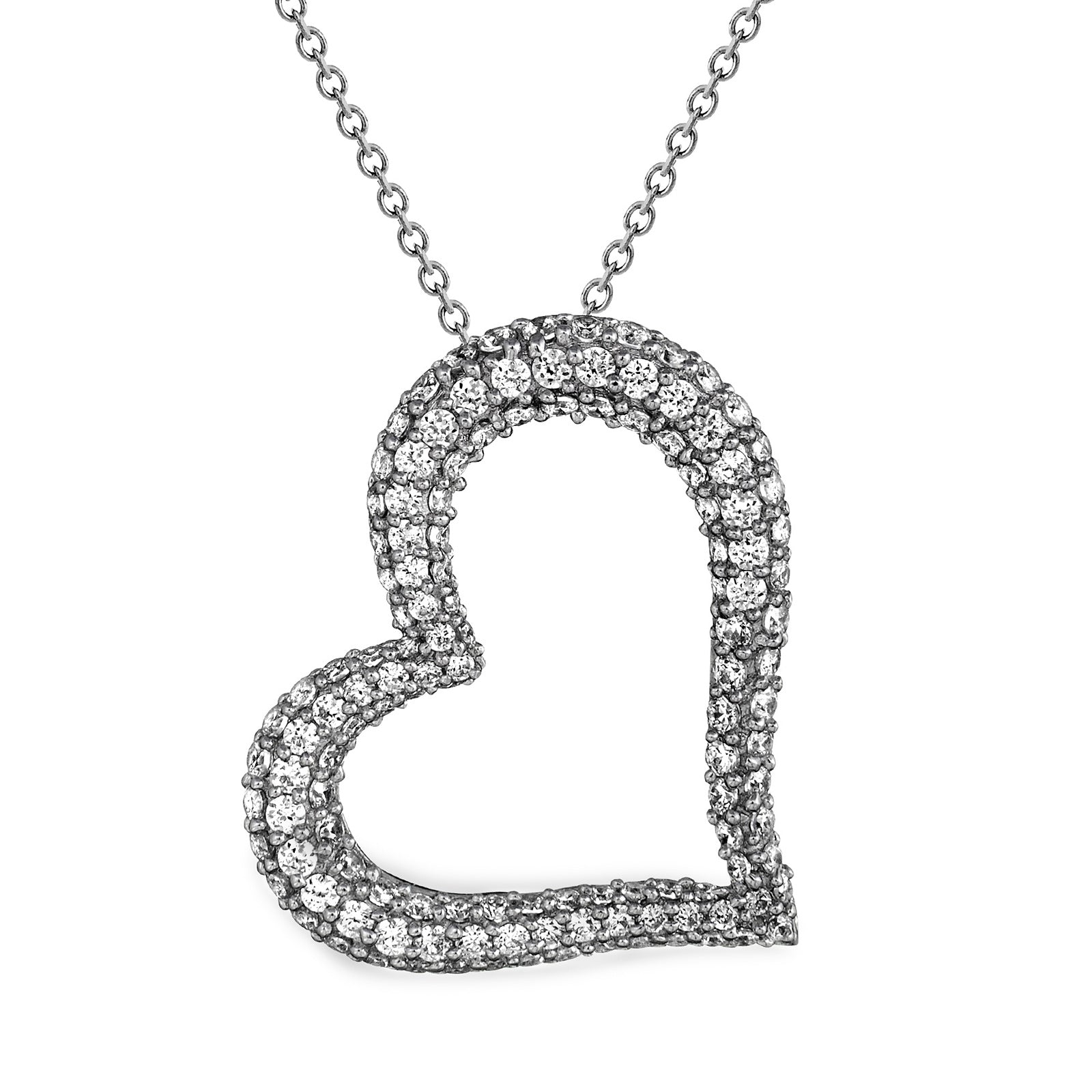 EWP120161 Sterling Silver Heart Pendant Necklace