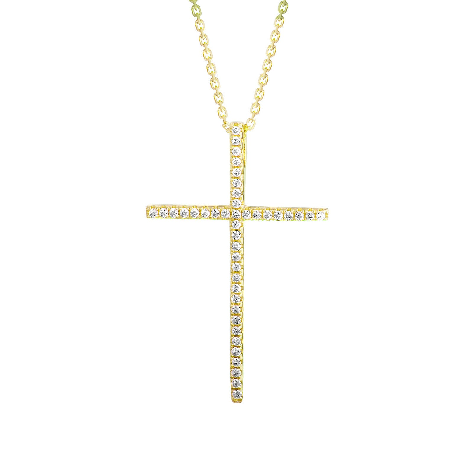 EWP120175Y-S GP Sterling Silver Cross Necklace