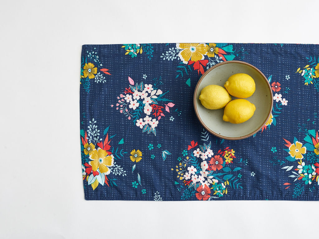 navy floral table runner
