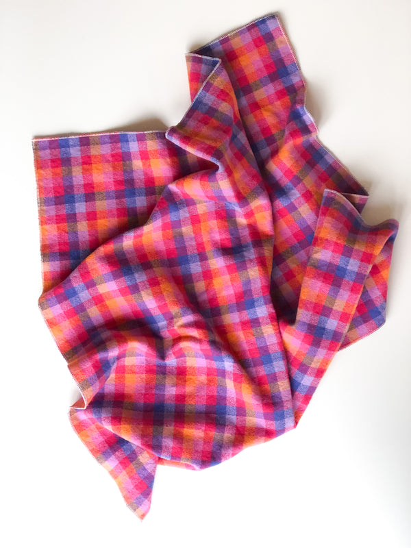 Bandana scarf - pink check flannel