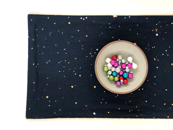 dark blue and metallic hand painted table runner