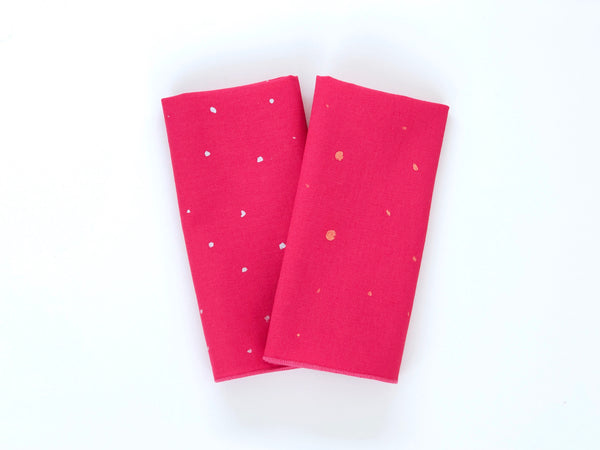 Hand painted tiny dots pink linen napkin set of 2