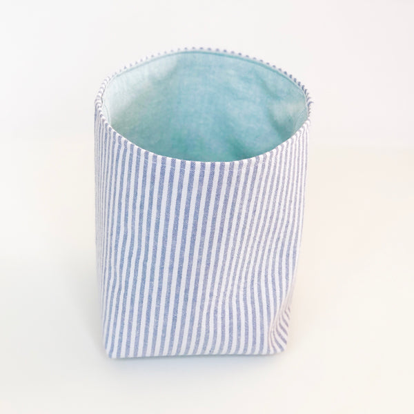 Medium cloth basket - grey and turquoise