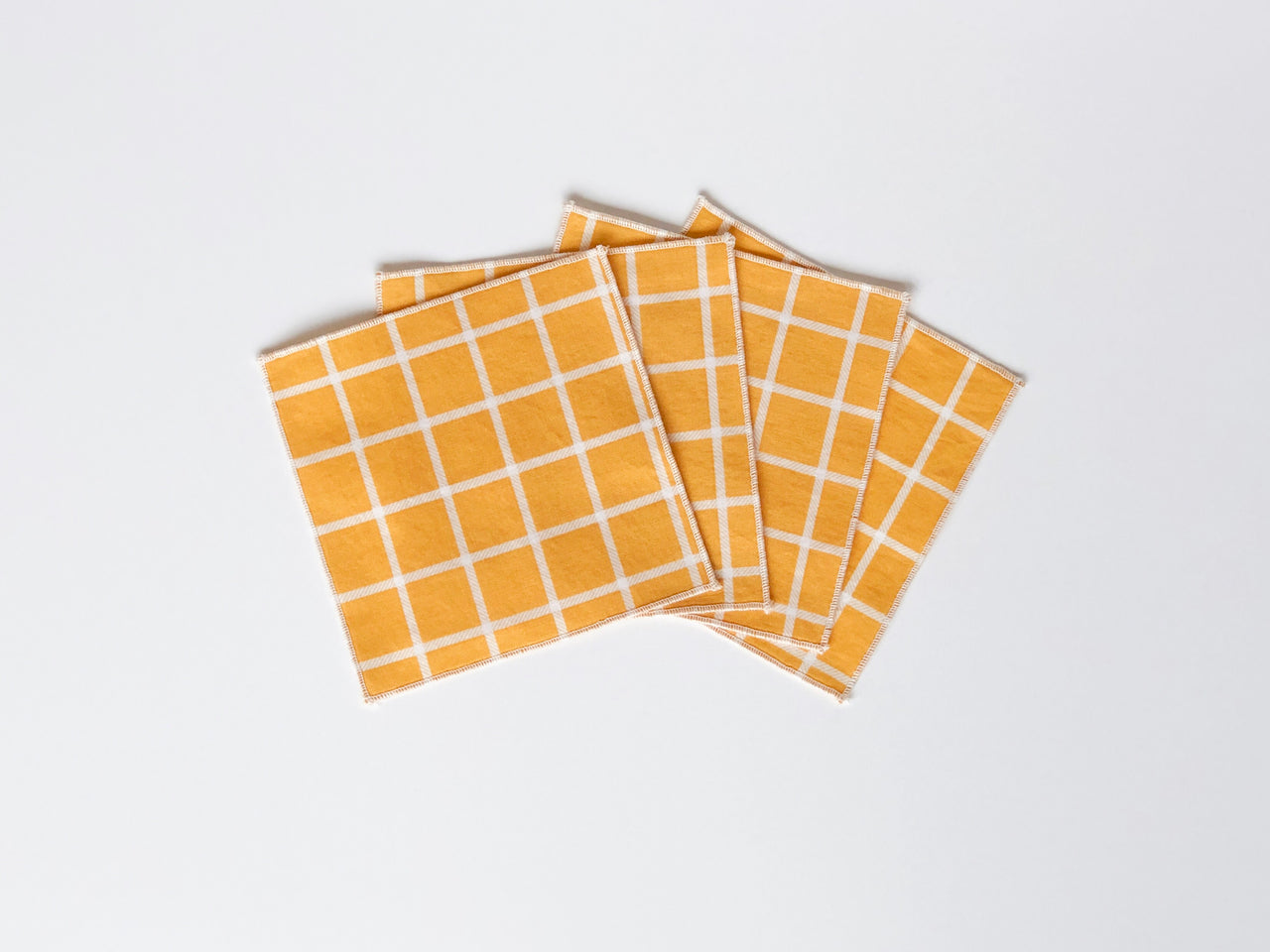 yellow plaid tiny napkin set of 4