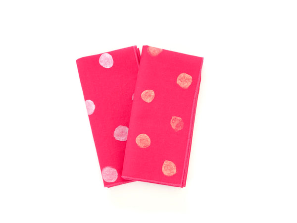 Hand painted pink linen napkin set of 2