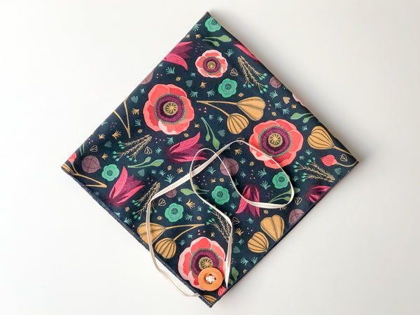 Reusable cloth gift wrap - deep blue floral