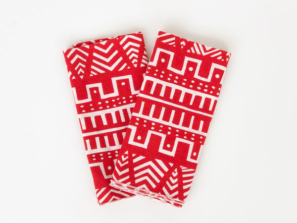 Red and white festive napkins- set of 2