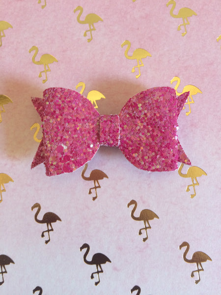 Magenta Glitter Bow Made By Apollo and Wynn