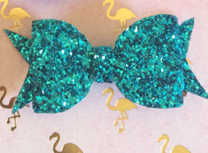 Turquoise Glitter Bow Made By Apollo and Wynn
