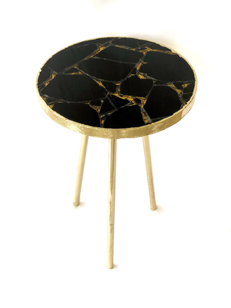 Gold Sparkle Infused Black Agate Round Coffee/Side Table