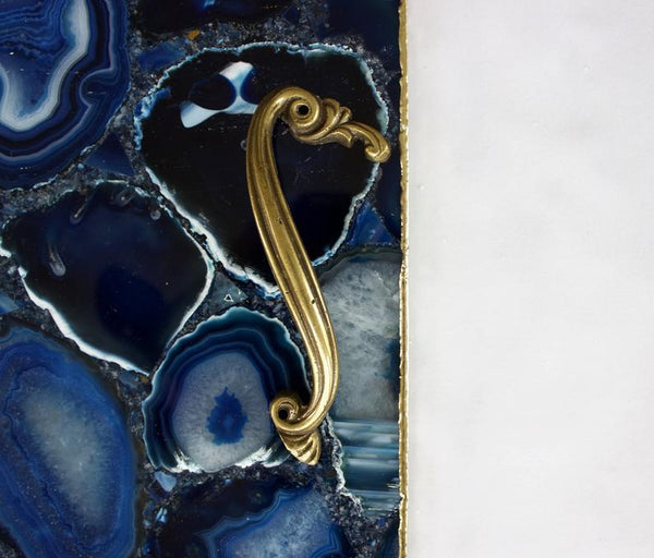 Blue Agate Serving Tray With Brass Handles Style 2 | Square