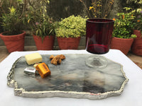 Large Grey Agate Quartz Cheese Platter/Tray/Persoanlised Momentos/Sign Boards