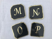 Customised Black Agate - Set of 4 Large Coasters/Personalised Momentos