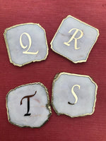Customised White Agate - Set of 4 Large Coasters/Personalised Momentos