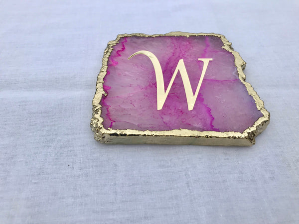 Customised Pink Agate - Set of 4 Large Coasters/Personalised Momentos