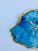 Ocean Blue Large Agate Wall/Table Clock/Personalised Momento