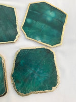 Emerald Green Agate Aventurine Set of 4 Large Coasters/Personalised Momentos