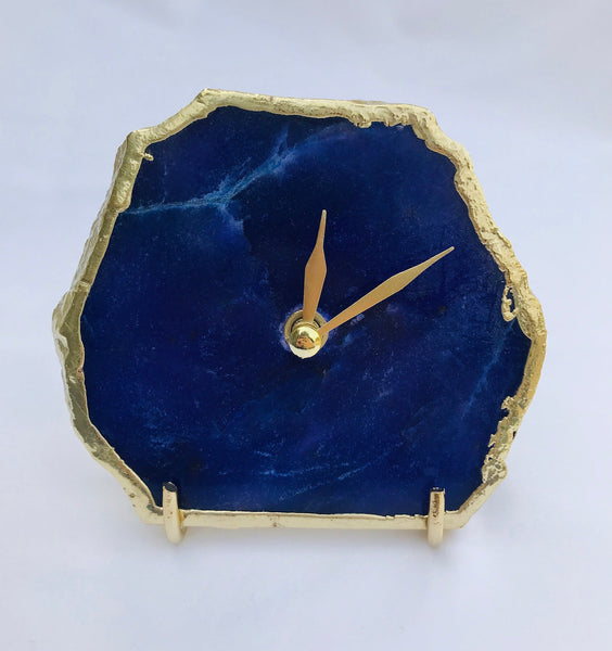 Indigo Blue Agate Desk/Wall Clock, Can be Personalised/Customised/Personalised Momento
