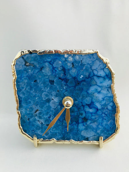 Blue Agate Desk/Wall Clock/Personalised Momento