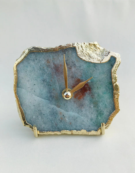 Grey Green Aventurine Agate Desk/Wall Clock/Personalised Momento