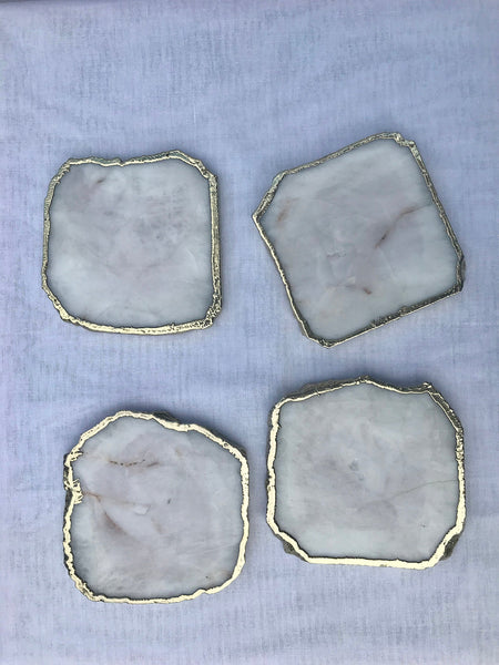 White Agate - Set of 4 large Coasters/Personalised Momentos