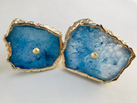 Set of 6 Blue Agate Classic Vintage Finish Cabinet Drawer Pull Wardrobe Dresser Interior Decorative Handle