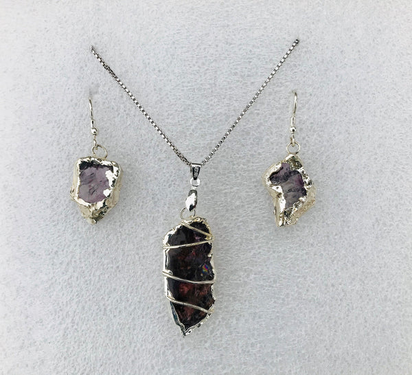 Set of 3. Druzy Amethyst Large Crystal Pendant/Necklace And Earrings Set - Purple Amethyst Gemstone Slab - Natural Stone Silver Jewelry